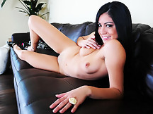 Cierra Spice - Cierra strips from her sexy, tight dress and sits on the couch. She spreads her legs and plays with her pussy and it's hot.