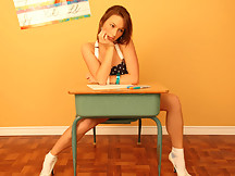 Kates Playground - Kate is in the classroom working hard at her desk and she can't help but do a little tease for all the guys in the audience.