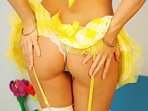 Kates Playground - Kate is so powerfully cute in this little yellow and white outfit that she's turned super sexy. She will make your balls tight. - Kates Playground - Kate is so powerfully cute in this little yellow and white outfit that she's turned super sexy. She will make your balls tight.