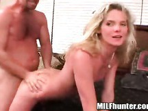 Blonde mature mom Helen rides a big dick while he squeezes firm ass